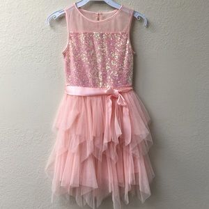 Other - Sleeveless sequin ruffle layer flower girl dress
